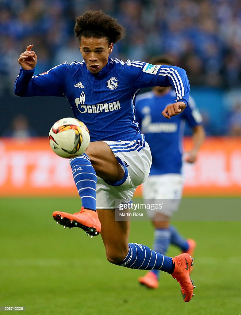 Leroy Sane of Schalke runs with the ball during the Bundesliga match between FC Schalke 04 and VfL Wolfsburg at Veltins-Arena on February 6, 2016 in Gelsenkirchen, Germany.