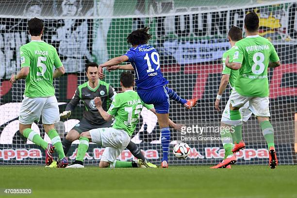 Leroy Sane of Schalke scores the first team goal during the Bundesliga match between VfL Wolfsburg and FC Schalke 04 at Volkswagen Arena on April 19...