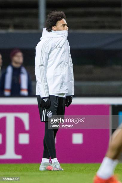Leroy Sane reacts during a Germany Training Session at Suedstadion on November 13 2017 in Cologne Germany