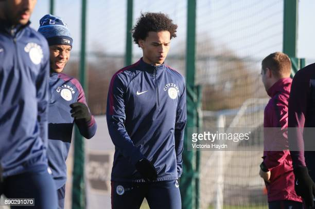 Leroy Sane reacts during training at Manchester City Football Academy on December 11 2017 in Manchester England