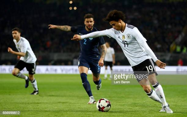 Leroy Sane runs with the ball during the international friendly match between Germany and England at Signal Iduna Park on March 22 2017 in Dortmund...