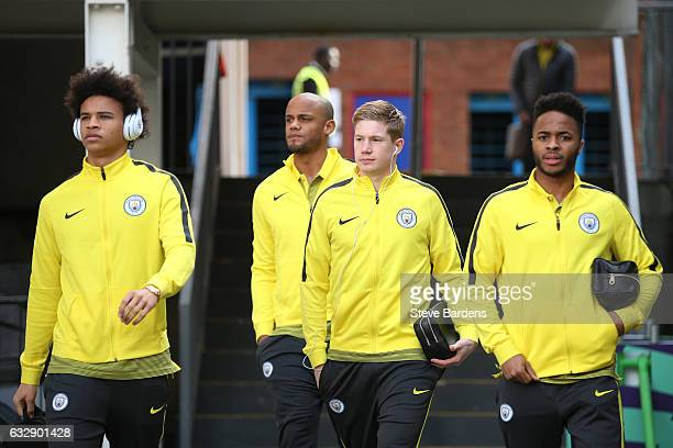 Leroy Sane Vincent Kompany Kevin De Bruyne and Raheem Sterling of Manchester City are seen on arrival at the stadium prior to the Emirates FA Cup...