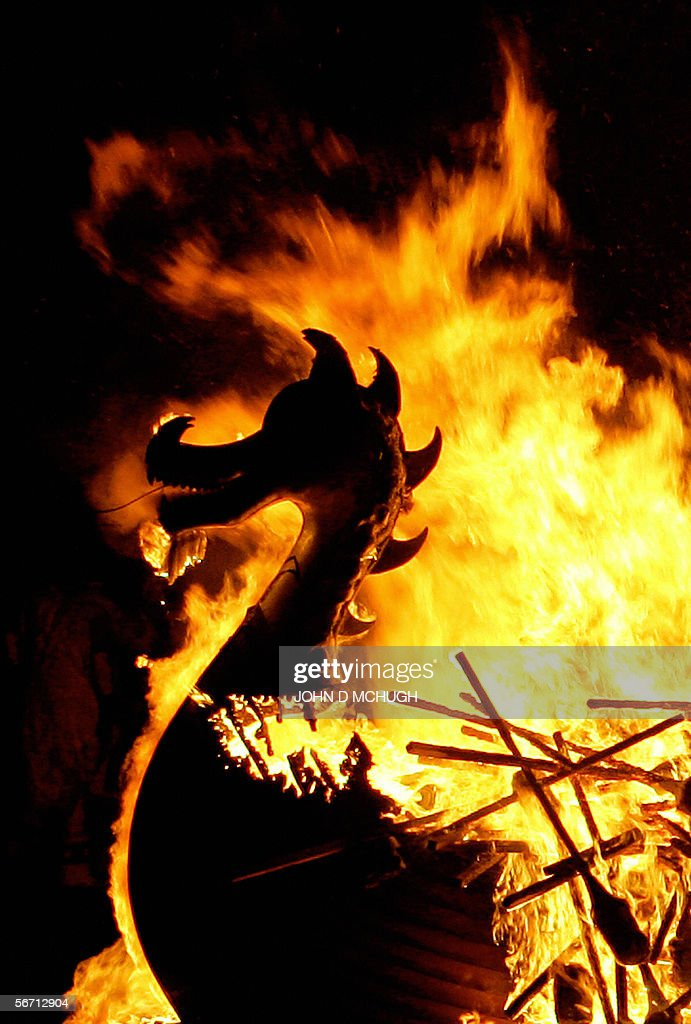 Shetlanders dressed as Vikings take part in their traditional fire festival 'Up Helly Aa' in Lerwick on the Shetland Islands north of Scotland 31...