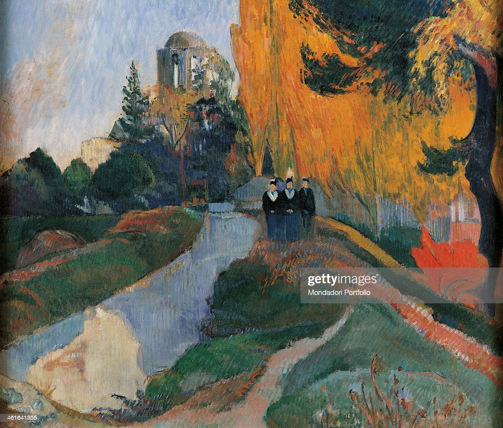 Les Alyscamps, by <a gi-track='captionPersonalityLinkClicked' href=/galleries/search?phrase=Paul+Gauguin&family=editorial&specificpeople=99058 ng-click='$event.stopPropagation()'>Paul Gauguin</a>, 1888, 19th Century, oil on canvas, 91 x 72 cm. France, Paris, Musée d'Orsay. Detail. Perspective of an avenue of the necropolis of Arles with three characters walking. Around them trees and vegetation; a high building in the background.