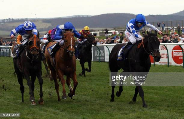 Les Arcs and jockey Neil Callen wins the Williamhillcouk Cammidge Trophy from Quito and jockey Tony Culhane at Redcar racecourse Saturday March 25...