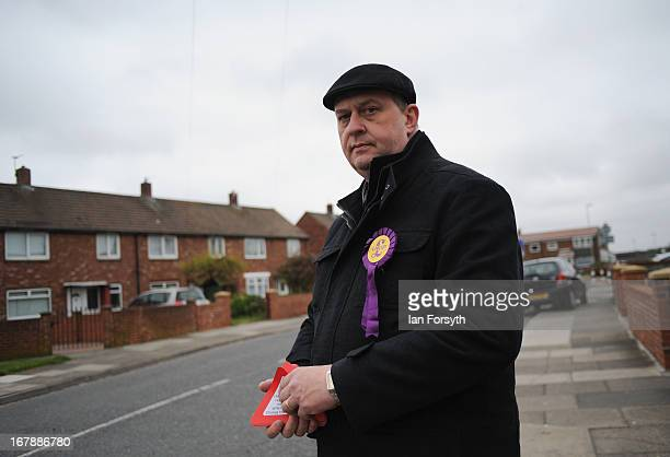 Les Brown hands out UKIP information as he canvasses doortodoor on the day voters head to the polls on May 2 2013 in South Shields England The...