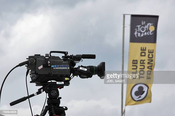 A camera is set on the roof of a media truck in the TV media broadcasting area called technical zone after the 14th stage of the 94th Tour de France...