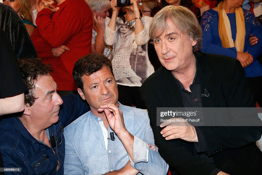 'Les Chevaliers du fiel' Eric Carriere and Francis Ginibre with Cartoonist Jean Plantu attend the 'Vivement Dimanche' French TV show at Pavillon Gabriel on May 14, 2014 in Paris, France.