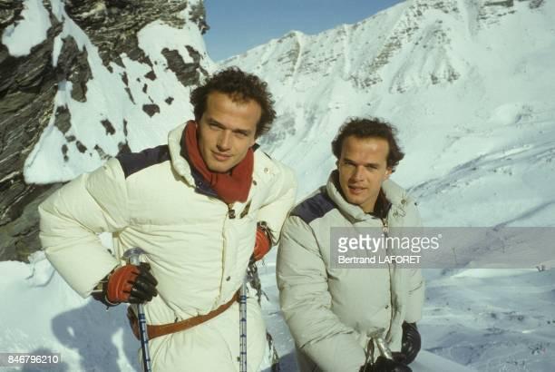 Les comediens jumeaux Laurent Malet et Pierre Malet au festival du Cinema Fantastique le 19 janvier 1984 a Avoriaz France
