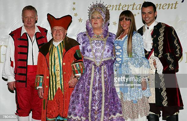 Les Dennis Mickey Rooney Jan Rooney Michelle Heaton and Andy Scott Lee pose at the First Family Entertainment Pantomime Season Panto Line Up Launch...