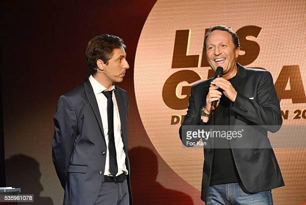 Les Gerard presenter Jerome De Verdire and Les Gerards 2016 awarded TV presenter Arthur aka Jacques Essebag attend 'Les Gerard De La Television...