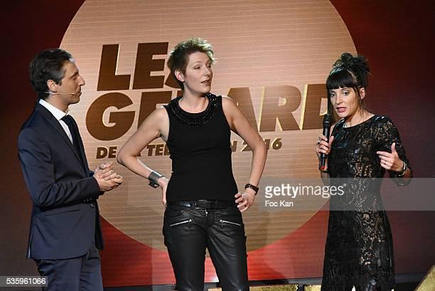 Les Gerard presenter Jerome De Verdire Gerard 2016 awarded Natacha Pologny and Erika Moulet attend 'Les Gerard De La Television 2016' Awards...