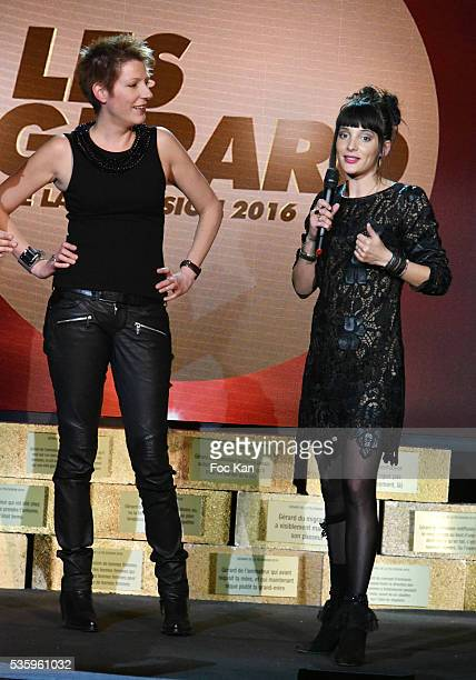 Les Gerards 2016 awarded TV presenter Natacha Pologny and Erika Moulet attend 'Les Gerard De La Television 2016' Awards Ceremony At Theatre Daunou on...