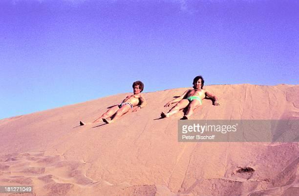 Les Humphries Günter Traub Urlaub Gran Canaria/Spanien Sänger Strand Hotel Training FitnessTraining Kanarische Inseln Badehose