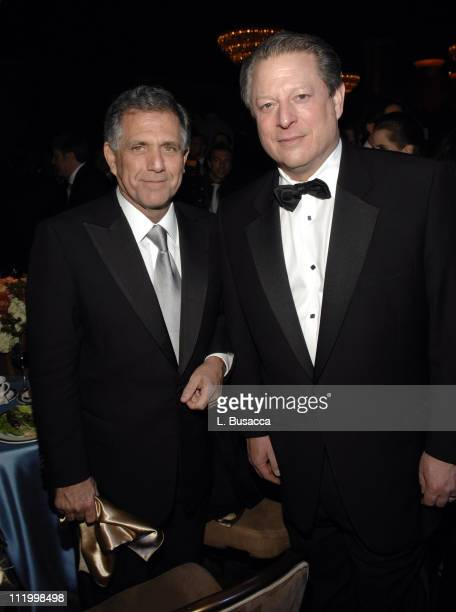 Les Moonves and Al Gore during 2007 Clive Davis PreGRAMMY Awards Party Reception and Dinner at Beverly Hills Hilton in Beverly Hills California...