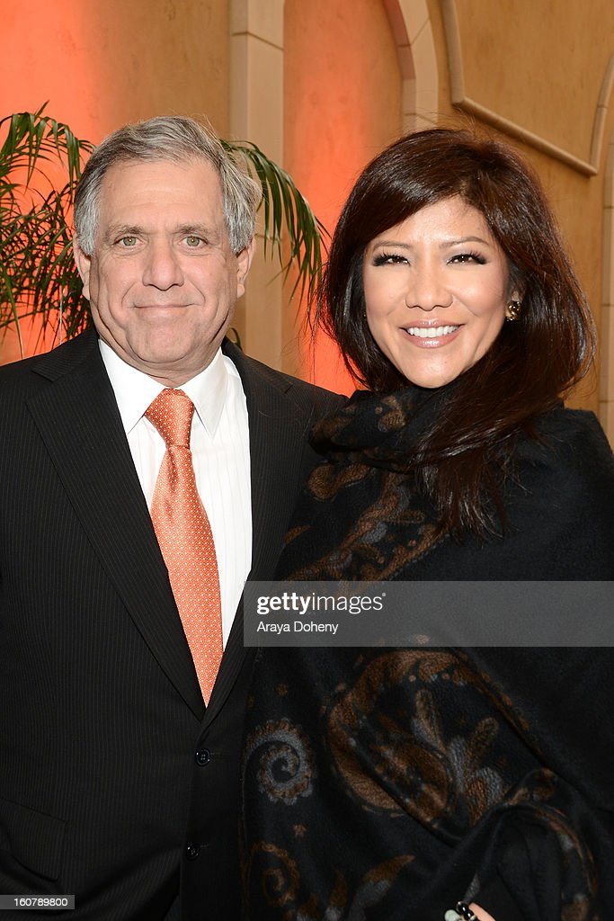 <a gi-track='captionPersonalityLinkClicked' href=/galleries/search?phrase=Les+Moonves&family=editorial&specificpeople=210763 ng-click='$event.stopPropagation()'>Les Moonves</a> and <a gi-track='captionPersonalityLinkClicked' href=/galleries/search?phrase=Julie+Chen&family=editorial&specificpeople=206213 ng-click='$event.stopPropagation()'>Julie Chen</a> attend the dedication of the Sumner M. Redstone Production Building at USC on February 5, 2013 in Los Angeles, California.