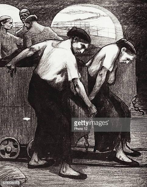 'Les moulineuses' or female mine workers Illustration in 'L'Assiette au Beurre' no134 October 24 1903 Paris Bibliotheque Nationale de France