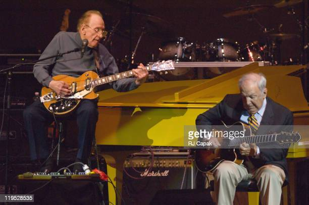 Les Paul and Bucky Pizzarelli during Les Paul 90th Birthday Salute at Carnegie Hall in New York City New York United States