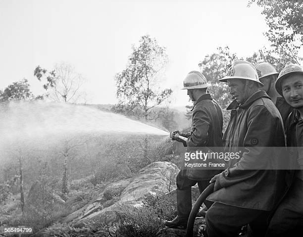 Les pompiers combattent le feu à la lance à incendie en forêt de Fontainebleau en France circa 1960