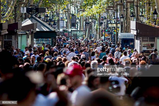 Les Rambles where the terrorist attack took place full of people the day after the terrorist attack on August 18 2017 in Barcelona Spain