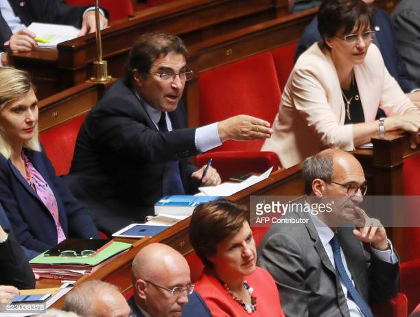 Les Republicains party's MP Christian Jacob speaks during a session of questions to the government at the French National Assembly on July 26 2017 in...