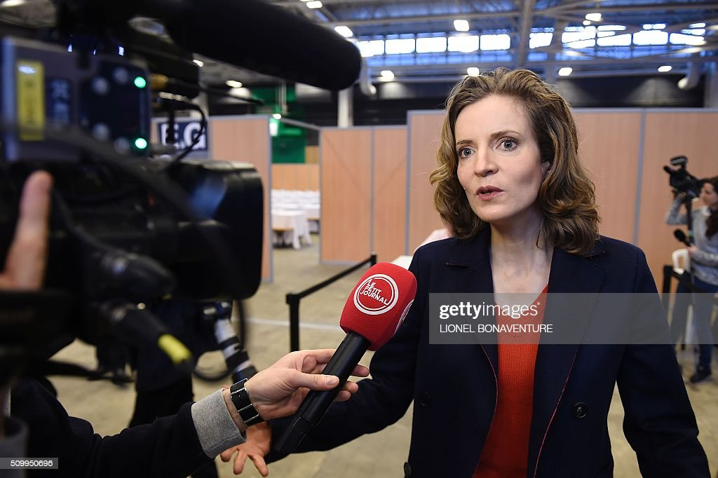 Les Republicains (LR) right-wing main opposition party's member Nathalie Kosciusko-Morizet speaks to journalists during the LR National Council on February 13, 2016 in Paris. AFP PHOTO / LIONEL BONAVENTURE / AFP / LIONEL BONAVENTURE