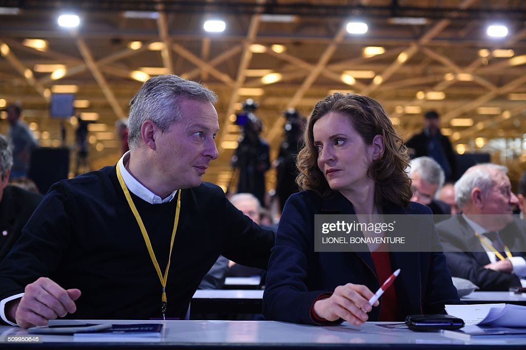 Les Republicains (LR) right-wing main opposition party's members Bruno Le Maire (L) and Nathalie Kosciusko-Morizet attend the LR National Council on February 13, 2016 in Paris. AFP PHOTO / LIONEL BONAVENTURE / AFP / LIONEL BONAVENTURE