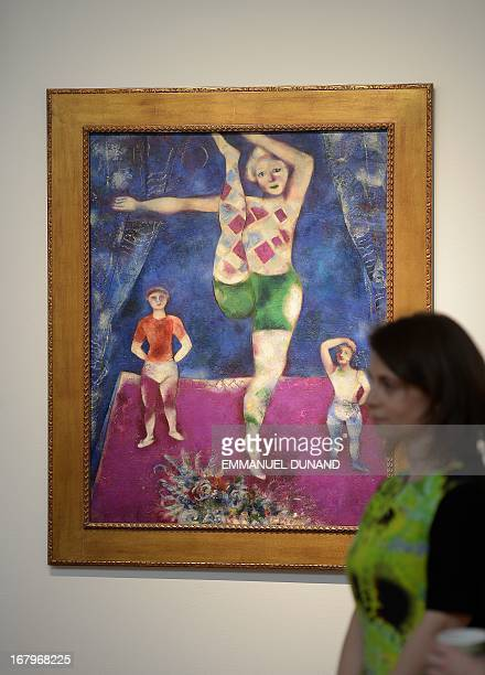 'Les trois acrobates' by Marc Chagall is on display during a preview of Christie's Impressionist and Modern Art sales in New York May 3 2013...