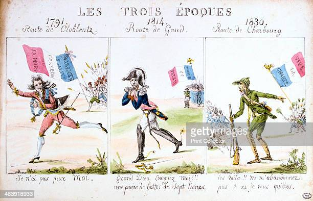 'Les Trois Epoques' Revolution of 1830 Paris Caricature showing Louis XVI Napoleon and Charles X fleeing the wrath of the Paris mob in 1791 1814 and...