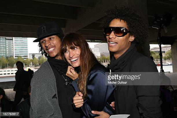Les Twins and Caroline De Maigret attend the Anthony Vacarello Womenswear Spring / Summer 2013 show as part of Paris Fashion Week at Cite de la Mode...