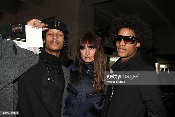 Les Twins and Caroline De Maigret attend the Anthony Vacarello Womenswear Spring / Summer 2013 show as part of Paris Fashion Week at Cite de la Mode...