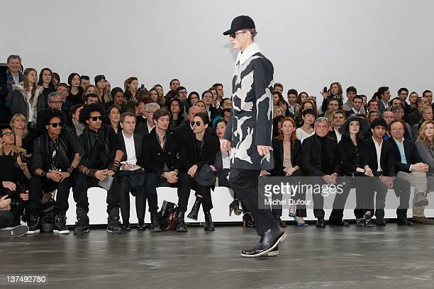les Twins Jared Leto Yi Zhou Audrey Marnay Sidney Toledano and Ni Ni attend the Dior Homme Menswear Autumn/Winter 2013 show as part of Paris Fashion...