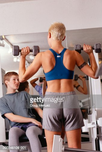 Lesbian Couple Working Out At Gym Stock Photo | Getty Images
