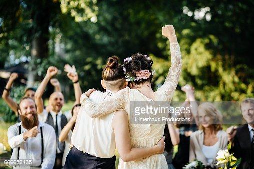 Lesbian couple celebrating their marriage