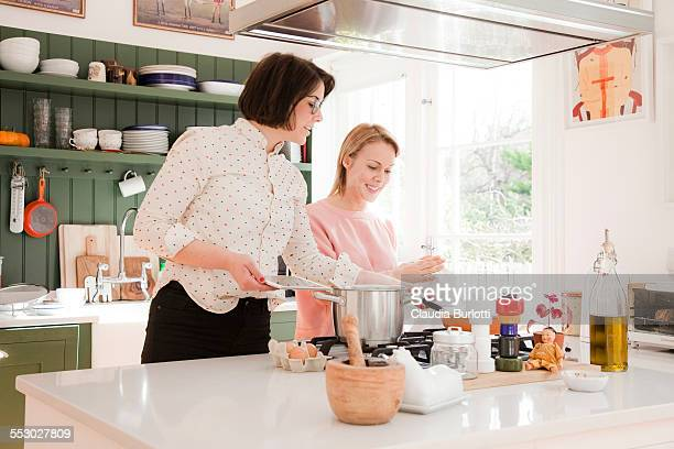 Lesbian couple cooking