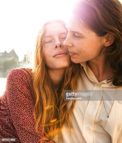 lesbian couple embracing togetherness