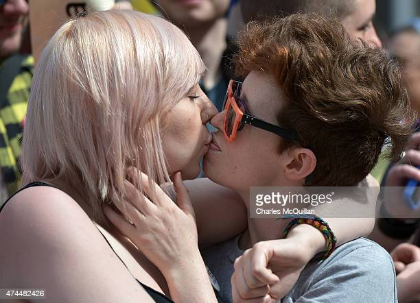 A lesbian couple kiss as thousands gather in Dublin Castle square awaiting the referendum vote outcome on May 23 2015 in Dublin Ireland Voters in the...