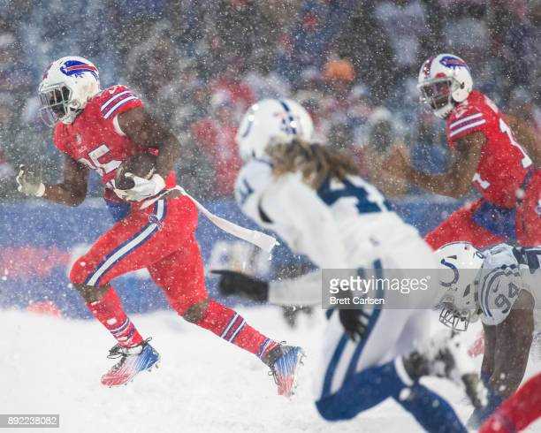 LeSean McCoy of the Buffalo Bills carries the ball during overtime against the Indianapolis Colts at New Era Field on December 10 2017 in Orchard...