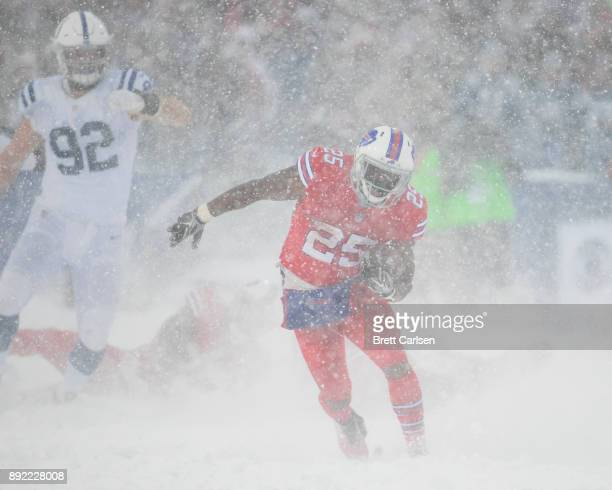 LeSean McCoy of the Buffalo Bills carries the ball during the second quarter against the Indianapolis Colts at New Era Field on December 10 2017 in...