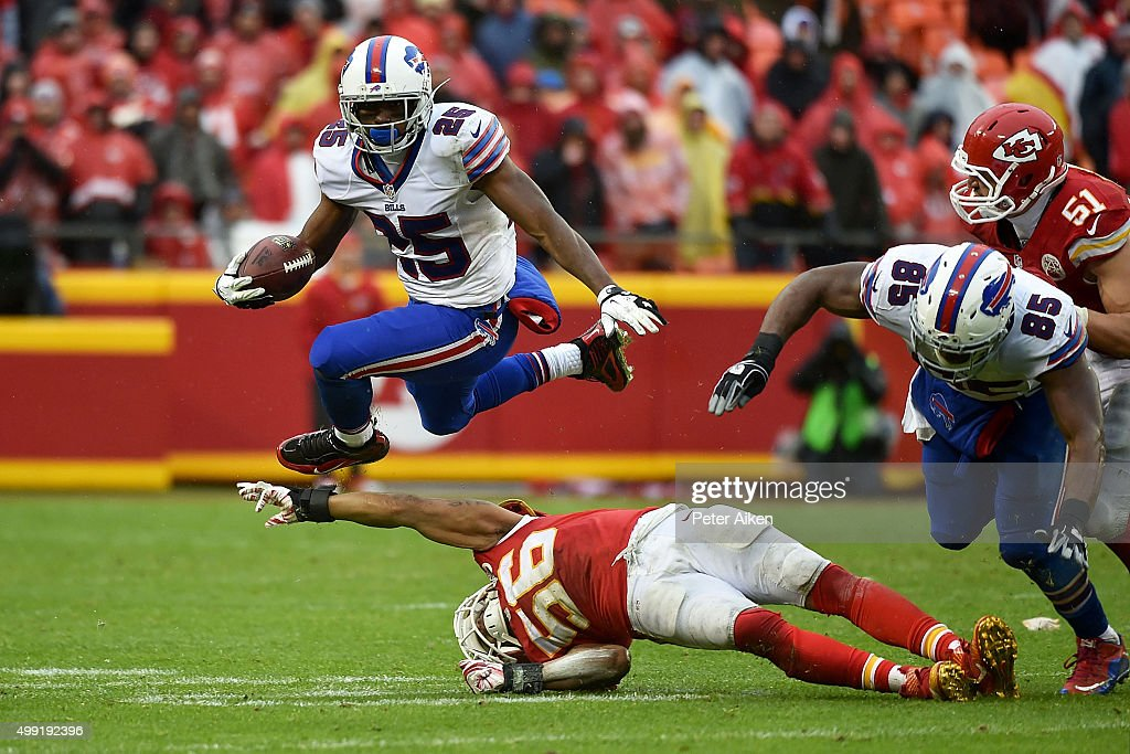 <a gi-track='captionPersonalityLinkClicked' href=/galleries/search?phrase=LeSean+McCoy&family=editorial&specificpeople=4484228 ng-click='$event.stopPropagation()'>LeSean McCoy</a> #25 of the Buffalo Bills leaps over the outstretched arm of <a gi-track='captionPersonalityLinkClicked' href=/galleries/search?phrase=Derrick+Johnson+-+American+Football+Player&family=editorial&specificpeople=226781 ng-click='$event.stopPropagation()'>Derrick Johnson</a> #56 of the Kansas City Chiefs at Arrowhead Stadium during the third quarter of the game on November 29, 2015 in Kansas City, Missouri.