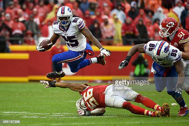LeSean McCoy of the Buffalo Bills leaps over the outstretched arm of Derrick Johnson of the Kansas City Chiefs at Arrowhead Stadium during the third...