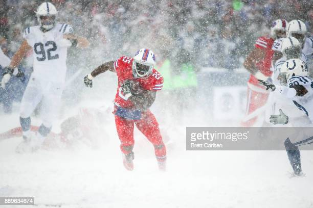 LeSean McCoy of the Buffalo Bills runs the ball agains the Indianapolis Colts during the second quarter on December 10 2017 at New Era Field in...