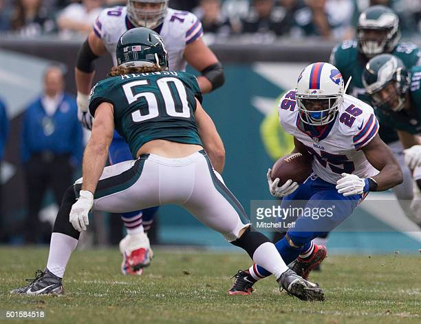 LeSean McCoy of the Buffalo Bills runs the ball against Kiko Alonso of the Philadelphia Eagles on December 13 2015 at the Lincoln Financial Field in...