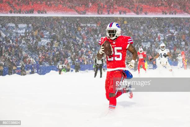 LeSean McCoy of the Buffalo Bills scores the game winning touchdown in overtime against the Indianapolis Colts at New Era Field on December 10 2017...