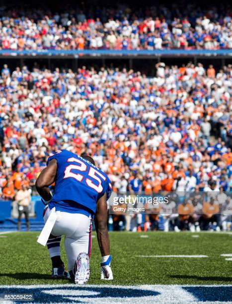 LeSean McCoy of the Buffalo Bills takes a knee during the national anthem before an NFL game against the Denver Broncos on September 24 2017 at New...
