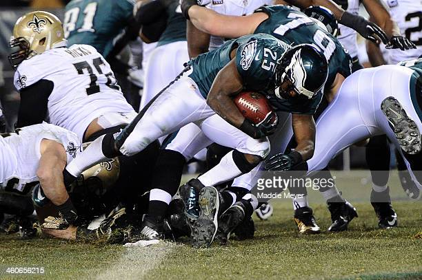 LeSean McCoy of the Philadelphia Eagles scores a 1 yard touchdown in the third quarter against the New Orleans Saints during their NFC Wild Card...