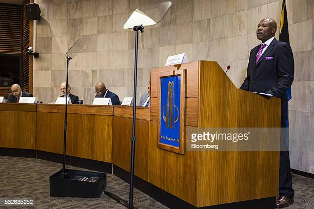Lesetja Kganyago governor of South Africa's central bank speaks during a news conference to announce interest rates in Pretoria South Africa on...