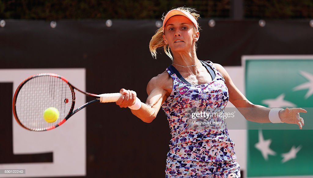 <a gi-track='captionPersonalityLinkClicked' href=/galleries/search?phrase=Lesia+Tsurenko&family=editorial&specificpeople=7654433 ng-click='$event.stopPropagation()'>Lesia Tsurenko</a> of the Ukraine in action against Julia Goerges of Germany during day three of The Internazionali BNL d'Italia 2016 on May 10, 2016 in Rome, Italy.