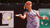 Lesia Tsurenko of the Ukraine in action against Julia Goerges of Germany during day three of The Internazionali BNL d'Italia 2016 on May 10 2016 in...