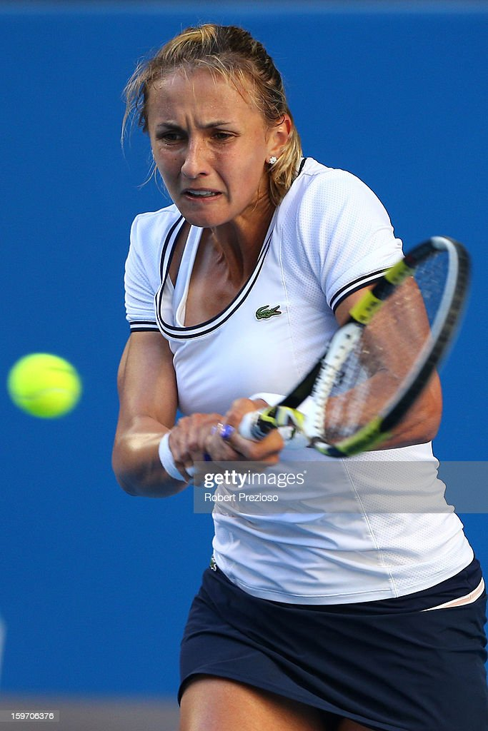 Lesia Tsurenko of the Ukraine plays a backhand in her third round match against Caroline Wozniacki of Denmark during day six of the 2013 Australian Open at Melbourne Park on January 19, 2013 in Melbourne, Australia.